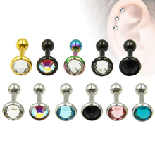 Stainless Steel Anodized Ear Cartilage Stud Earring Tragus CZ Gem Body Piercing Helix Jewelry(China)