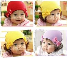 Winter 2015 Hot Sale New Hat Fashion Cute Wig Dot Bowknot Children Baby Kids Cotton Cap Bear Cartoon Floral Flower Warm