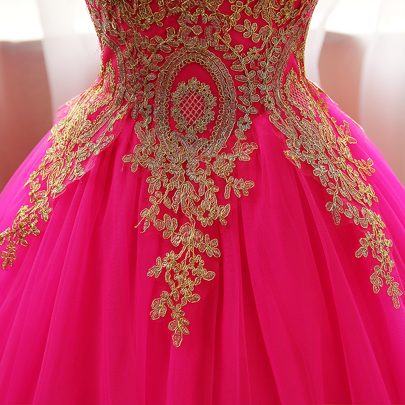 shop Quinceanera Dress Gold Appliques Lace Sweet 16 Dress Ball Gown