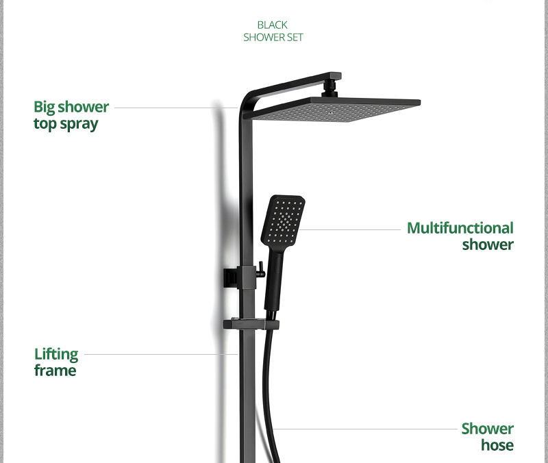 hm vintage Bathroom Black Shower Set Wall Mounted 10 Rainfall Shower Mixer Tap Faucet 3-functions Mixer Valve set System (7)