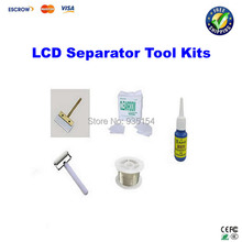 LCD touch screen separator Machine repair kit, roller+cutting wire+dust free cloth+glue scraper+dispergator