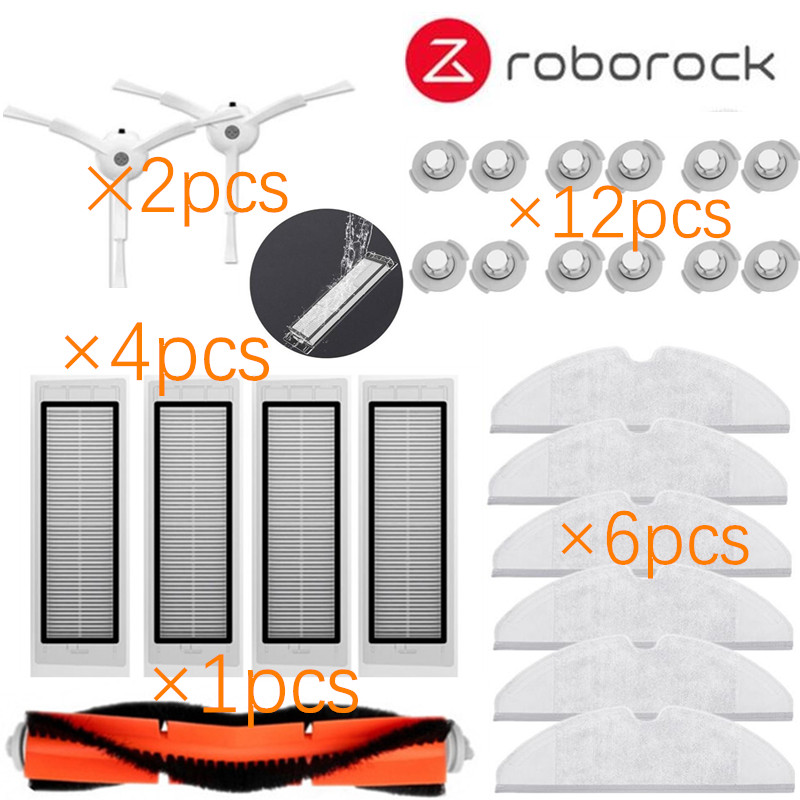 25pcs/lot New Main brush Hepa Filter Side brush Mop cloths Kit for Xiaomi mijia robot roborock s50 s51 roborock 2(China)