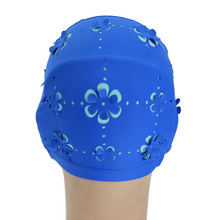 Women Ear Protection Swimming Cap Adult Durable Stretch Swim Caps Polyester Swimming Swim Lace Cap Sport Bathing Caps