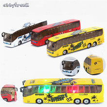 Abbyfrank 1:50 Mini Bus Model Car Toys Flashing Musical Educational Toy For Children Miniature Pull Back City Bus Jouet Enfant(China)