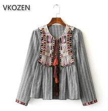 Women Vintage Boho Embroidery Ethnic Jackes Loose Retro Pleated Long Sleeve Color Fur Balls Casual Outwear Tassel Tops Thin Coat