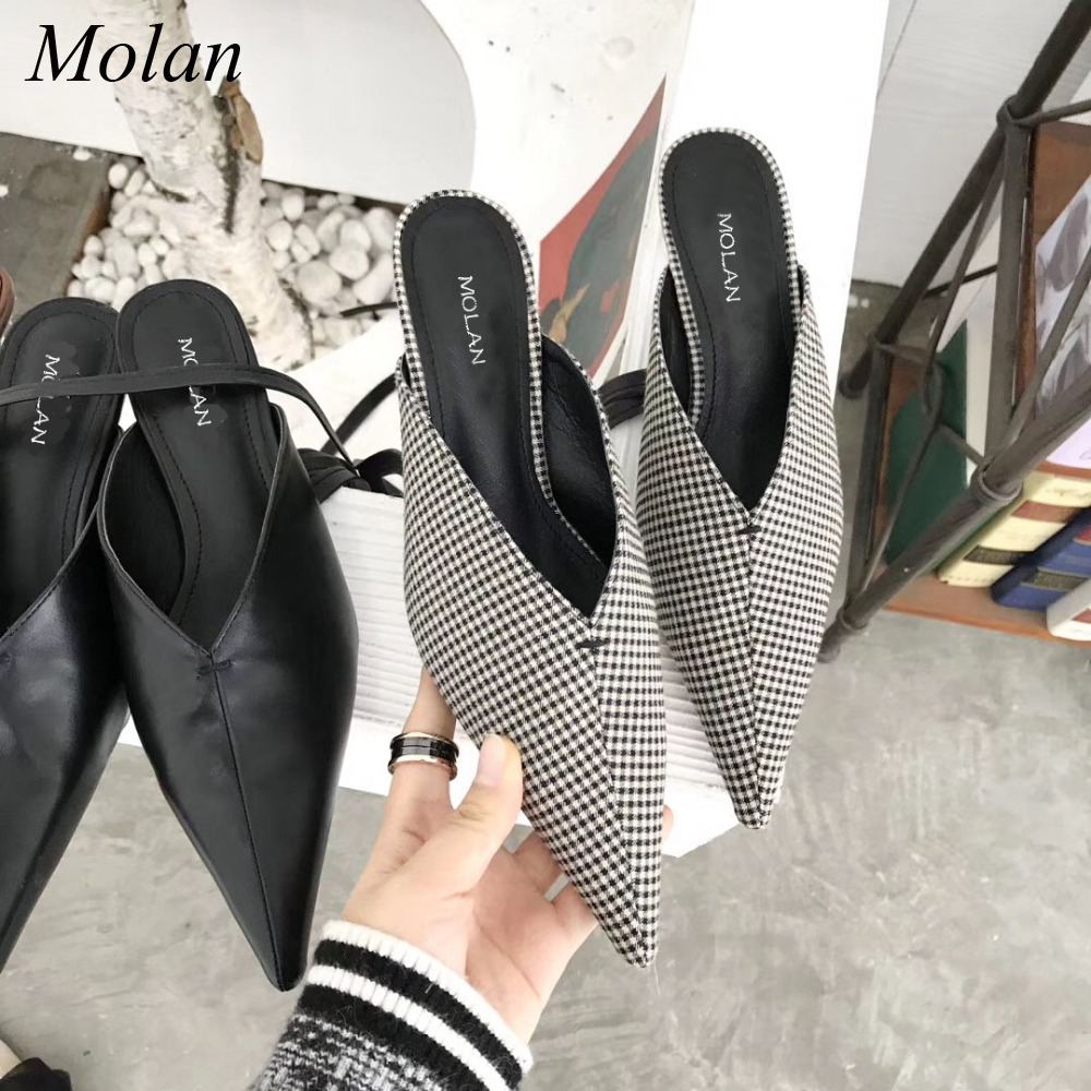 MOLAN Brand 2018 Spring Sexy V Mouth Black Cross Tied Riband Woman Shoes Point Toe Leather Pumps Thin Heels Slides Flip Flops<br>