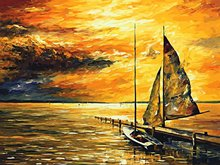 "Art Story Wooden Framed 16"" x 20"" Paint by Numbers Diy Painting set sail"