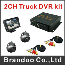 2 cameras truck DVR system, including 2 cameras and 1 pcs 4.3inch monitor, used on truck,bus,taxi sold by Brandoo(China)