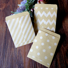 Dots Stripe Chevron Brown Kraft Paper Bags Strung Food Craft Candy Snack Bitty Bags Gift Treat Paper Party Favor Bags