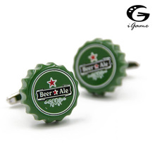 iGame Factory Price Retail Fashion Cuff Links Green Color Novelty Beer Bottle Cap Design(China)