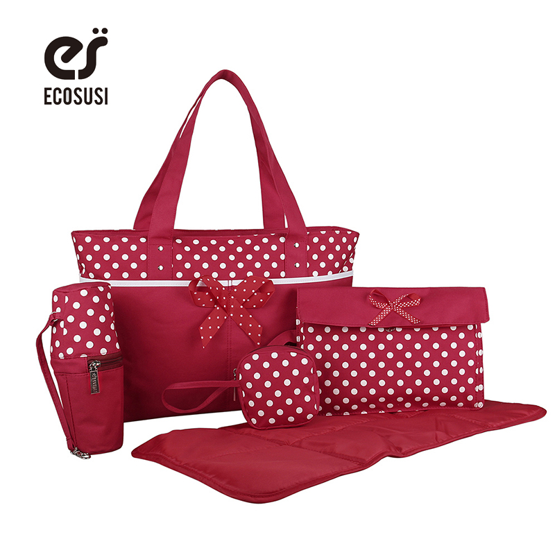 ECOSUSI 5pcs/set Multi-fonction Mommy Bags With Bow Baby Diaper Bag Black Mummy Bags Nappy Handbags Elegance Mum Shoulder Bags<br><br>Aliexpress