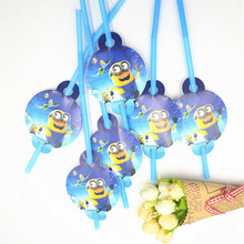 10pcs/lot Cartoon Straw Pattern minions Theme Party Decoration Disposable Tableware Drinking Straws Party Supplies for kids(China)