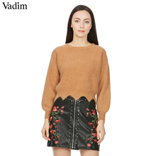 Women PU leather flower embroidery zipper skirts rivet design faldas European style fashion streetwear black mini skirts BSQ512(China)