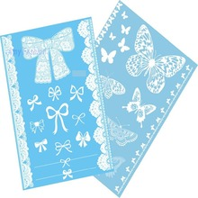 2Pcs/Lot Lace White Henna Tattoo Sticker Totem Butterfly Sun New Designs Brand Temporary Tattoo Body Art for Women Tatuagem