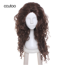 ccutoo 70cm Dark Brown Wavy Long Slicked Back Without Bangs High Temperature Fiber Cosplay Full Wigs Synthetic Natural Hair