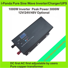 Homeuse CE RoHS Frequency DC12v/24v/48v to AC Power Inverters Charger UPS 1000W 1KW Peak 3000W Invertor LCD generator