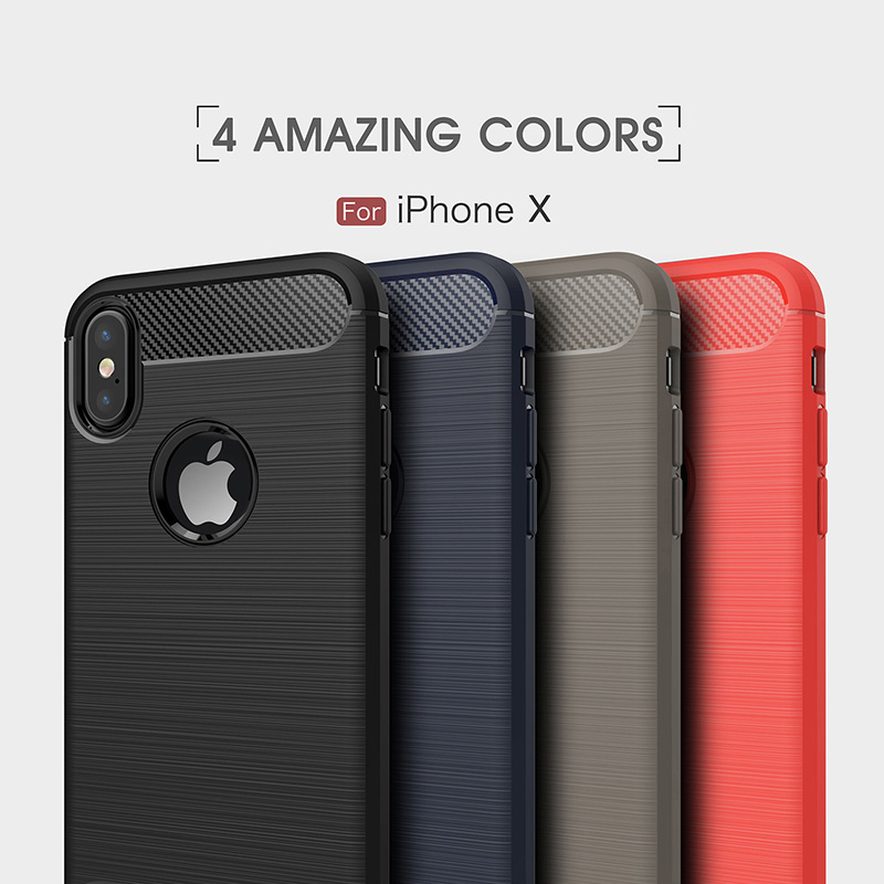 Carbon fiber brushed silicone case iphone x (8)