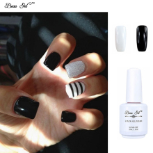Beau Gel UV Nail Gel Polish 15ml Gloss Gel Varnish Long-lasting Black White French Nails Polish Gel Lacquer Halloween Set