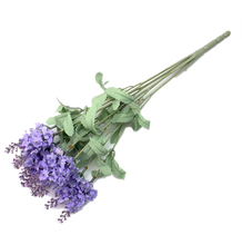 A bouquet 10 Head Artificial Lavender Silk Flowers Bouquet Home Garden Decoration Light purple