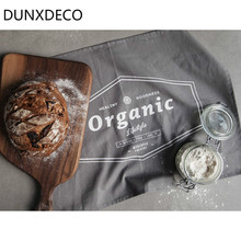 DUNXDECO Table Placemat Cotton Tea Towel Napkin Delicious Food Photo Ground Fabric 2PCS Set Modern Industry Gray Organic Print(China)