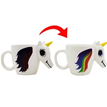 1Pc Original 3D Color Changing Temperature Unicorn Ceramic Mug Multi Colour Hot Cup(China)
