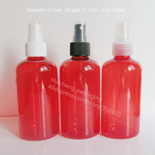 Free shipping - 20/lot 220ml Red Pet Bottle With Mist Sprayer, 220cc Empty Red Perfume Bottle, Cosmetic Container(China)