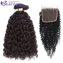 BEAUDIVA Indian Hair 3 Bundles With Closure Water Wave Bundles With Closure Human Hair Extensions Water Wave Bundles(China)
