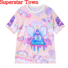 2016 Summer Anime Tops Lolita T shirt Kawaii Rainbow Pegasus Printing Harajuku Trend Fashion Tee Casual Shirt(China)