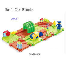 20pcs Toys Cars Thomas and Friend New Product Children 3D Intelligence Electric Track Happy World Building Blocks Electric Train(China)
