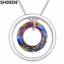 SHDEDE Round Pendant Necklaces Jewelry Crystal from Swarovski High Quality Famous Brand Accessories Anniversary Gift  .17504