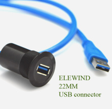 22mm black surface metal USB connector/USB socket  (USB3.0 FEMALE A - MALE A with 60cm wiring)