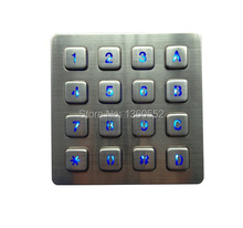 16 keys backlit keypad Led backlit keyboard with illuminated 4x4 key button for payphone,kiosk,bank,vending machine