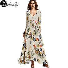 2017 Spring Dresses For Women Sexy V-Neck Fashion Floral Print Women Maxi Long Dress Designers Bohemian Beach Dress YC12931