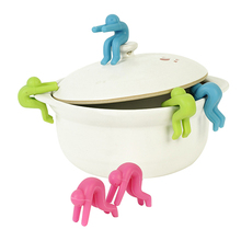 2Pcs Small People Silicone Cookware Lid Insert Chopsticks Holder Cellphone Stand