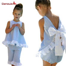 2017 Trendy Kids Clothing Summer Plaid Sleeveless Clothes Baby Girls Top Design Ruffle Pants Big Bowknot Girls Boutique Suits