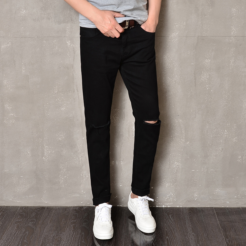 Pants Men Knee Holes Ripped Skinny Jeans Pant Korean Style Fashion Denim Man Brand Pencil Slim Fit Casual Male In From S