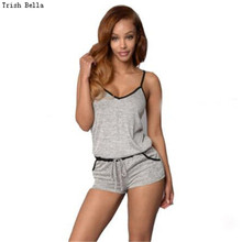jumpsuit 2017 new fashion Solid color Cotton Camisole Backless Waist Edge Tie bodysuit women body femme playsuit romper overalls(China)