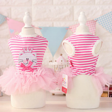 Spring and Summer Rose Red Color Xs-xl Size Fashion Striped Printing Tutu Crown Small Cat Pet Dog Clothes Summer Dresses