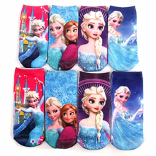 1 Pair Girl Socks Cartoon Princess Elsa Anna Hello Kitty Cotton Socks 3D Kids Children Baby Birthday Christmas Gift
