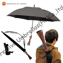 Rifle imitation wooden gun umbrella,100%sunscreen,UPF>40+parasol,straight,long-handle windproof,3.5mm fiberglass long ribs(China)