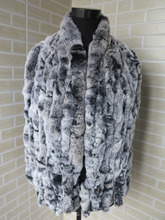 Genuine  rex rabbit fur  scarf wrap cape  collar   8strips gray with white tips shipping free