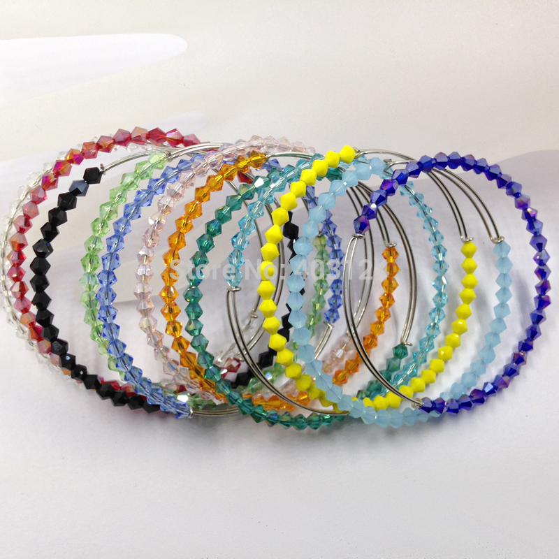 50pcs Mix Color 4mm Bicone Crystal Bead Steel Wire DIY Expandable Bracelet /Adjustable Steel Wire Crystal Women Gift Bangles