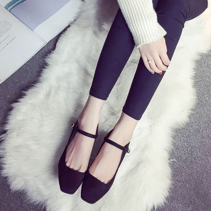Autumn Spring High-heeled shoes Women 2017 Korean style Vintage Novelty Square-toe Work shoes Gray Black and Dark green colors<br><br>Aliexpress