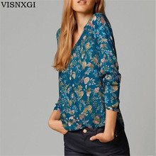 Buy New Women T Shirt Fashion Flower Summer Loose T-shirt Femininas V Neck Tops Floral Patterns Roupas Tee Long Sleeve Clothes S173 for $6.80 in AliExpress store