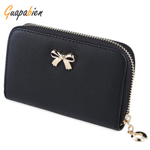 Guapabien Korean Bownot Women Purses Ladies Zipper Short Wallet Handbag Wearable Phone Bag Female Small Coin Clutch Wallet