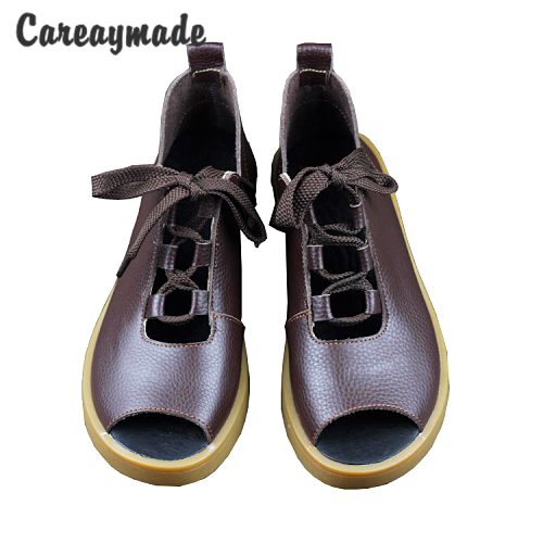 Careaymade-2017 summer,Women open toe sandals,Head layer cowhide lace-up casual flat sandals,Mori girl leather sandals,2colors<br>