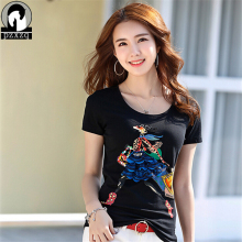 Womens Short Sleeve T-shirt Ladies Fashion Cartoon girl shopping diamond t-shirt Slim Summer Casual Hot Tees Tops high quality