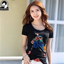 Womens Short Sleeve T-shirt Ladies Fashion Cartoon girl shopping diamond t-shirt Slim Summer Casual Hot Tees Tops high quality(China)
