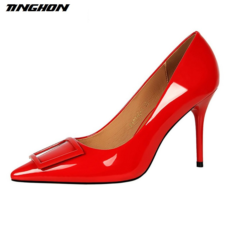 TINGHON NEW Womens Sexy Glitter Pumps Pointed Toe Stiletto Thin Heel High Heels Square Buckle Women Shoes Glossi Pumps<br>