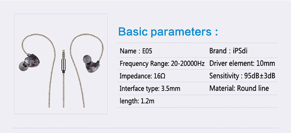 Ipsdi E05 2017 New Designs Earbuds Mobile Phone Headset Headphone With Stereo Bass Sport Earphone